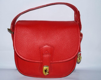 Rare Dooney & Bourke All Weather Leather S115 Arrowhead Square Flap Red Top Handle Carrier Bag