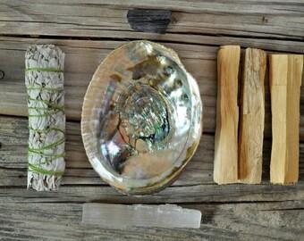 Purification Kit, Smudge Kit, Palo Santo, Abalone Shell, Sage, Selenite Stick, Selenite Wand, Black Tourmaline Nugget, Crystal, Smudge Bowl