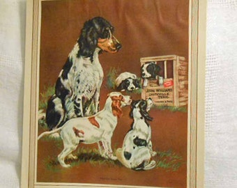 Springer SPANIELS PUPPY LOVE Litho Print, Mama Dog Puppies Breaking Home Ties 1930s Megargee American Calendar Art, Vintage 8 x 10 to Frame