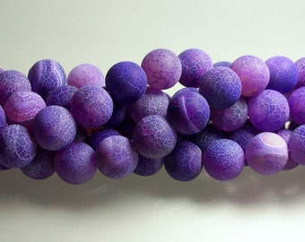 14MM Purple Agate Bead Strand Round Crackle Matte Finish Semi Precious GEMSTONES Jewelry Jewellery Craft Supplies