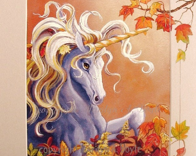 PRINT- FANTASY - UNICORN:  autumn leaves, original art on mat, matted, 11 x 14 inches,