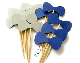 "Blue & Grey 2"" Bowtie Cupcake Toppers, Food Picks-or Choose Your Colors"
