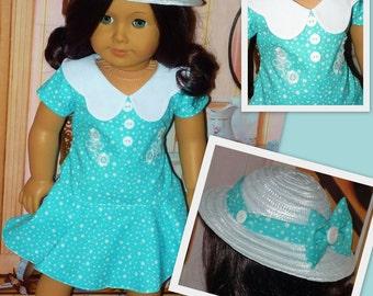 Robe de Pâques et chapeau - boutons et arcs poupées American Girl s'adapte