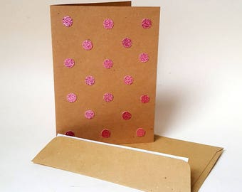 The card that Shimmers in pink with envelope