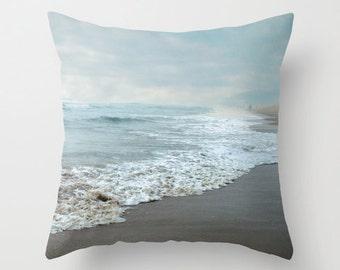 Pillow Cover, Ocean Shore Photo Pillow, Beach Throw Pillow, Beach House Decor, Aqua Pillow, Living Room Decor, Bedroom Decor 16x16 18x18
