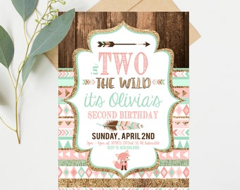 Two Wild Birthday Invitations - Pink and Mint - Second 2nd Birthday Party - Instant Digital Download
