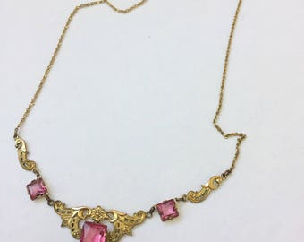 Vintage Gold Plated Pink Czech Glass Necklace