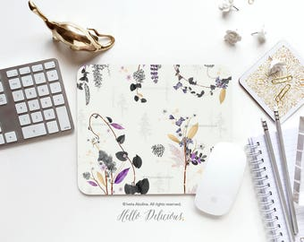 Mouse Pad Mousepad Woodland Floral Mouse Mat Garden Mouse Pad Office Mousemat Rectangular Mousemat Flower Mousepad Round 91.