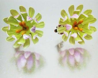 Vintage Enamel Mum Earrings  Chartreuse Purple