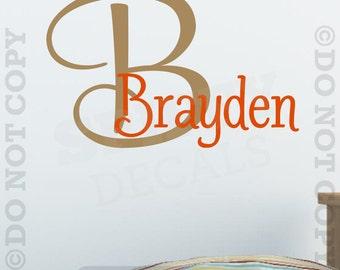 Personalized Monogram Custom Name Vinyl Wall Decal Nursery Bedroom Child Girl Boy