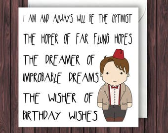 Wisher of Wishes - 11th Doctor Who Birthday Card - Funny Greetings Card - Geek Blank Card.