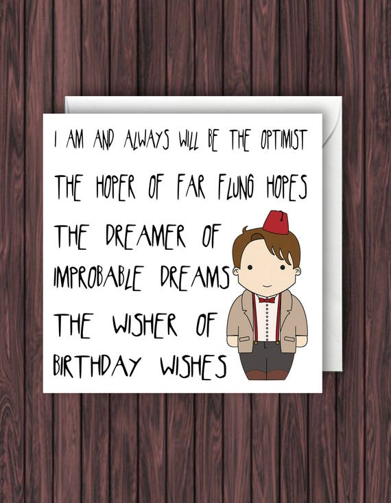 Doctor Who Birthday Card Dr Who Birthday Card 11th Doctor
