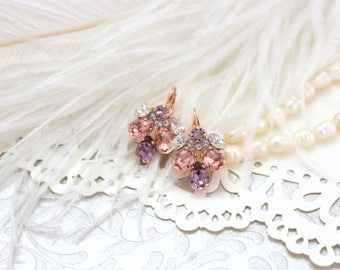 Rose gold earrings, Blush Earrings, Bridal earrings, Bridal jewelry, Wedding earrings, Swarovski earrings, Crystal earrings, Wedding jewelry