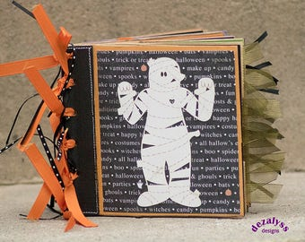 HALLOWEEN MINI ALBUM, Halloween Paper Bag Album, Photo Album, Halloween Album, Halloween Photo Album, Halloween Mini Scrapbook