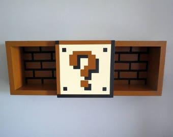 Super Mario Bros Shelf - Shadow Box Shelf - Home Decor - Cubbie Shelf - Hand Made - Hand Painted - MADE TO ORDER
