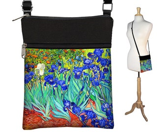 Small Cross Body Purse  Van Gogh Irises  Crossbody Bag Floral Sling Shoulder Bag Fits eReaders blue orange turquoise aqua RTS