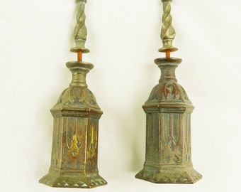 Pair Of Antique Bronze Pulpit Candle Holders, Early 19th Century, Lovely Condition, 13 x 4.5 x 4.r cm, Solid Bronze, French