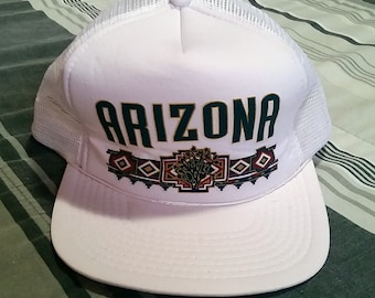 Vintage State of Arizona Souvenir White Mesh Snapback Cap Hat - One Size Fits All -