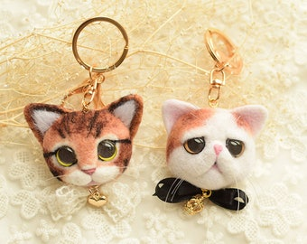 Handmade Felted Wool Cute Cats/Dogs/Deer Keychains