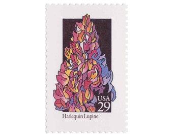 5 Unused Vintage Postage Stamps - 1992 29c Wildflower Series - Harlequin Lupine - Item No. 2664