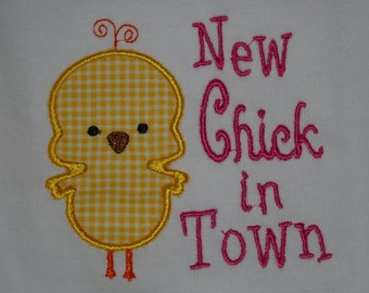 New Chick in Town, yellow gingham, custom, made to order