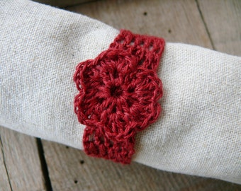Burgundy red linen napkin rings, crochet wedding napkin rings, Set of 4, 6, 8, 12, rustic table decor, Shabby chic, wedding napkin rings