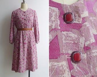 Vintage 80's Rose Quartz Crystal Print Pink Dress M or L