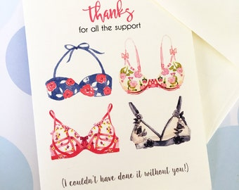 Thank You Card, Bra Card, Friendship Card, Breast Cancer, Bridesmaid Card, Lingerie Card