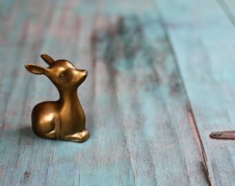 Nestled Brass Deer, Brass Deer Figurine, Vintage Brass Figurine, Brass Deer, Deer Decor, Vintage Brass, Brass Animal, Woodland, Cabin