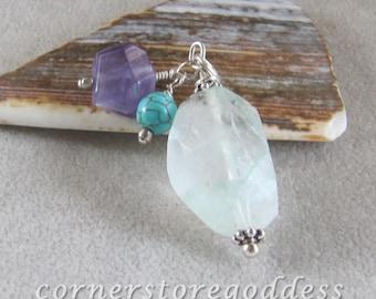 Aquamarine, Turquoise and Amethyst Gemstone Charm Zipper Pull by Cornerstoregoddess