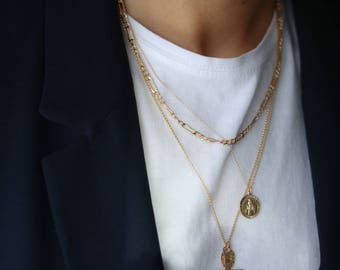 Thick Figaro Chain Necklace - Gold Chain Necklace - Layering Necklace - Long Chain Necklace for Men - Men's Gold Necklace Gold Filled Chain