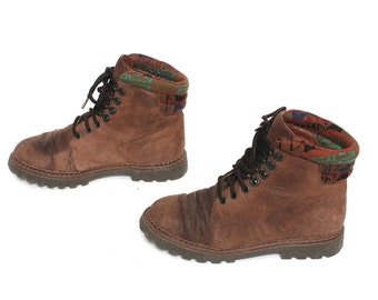 size 5 GRUNGE brown leather 80s 90s HIKING lace up ankle COMBAT work boots