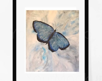 Blue Butterfly painting, Watercolor Abstract, Original painting, Muted watercolor artwork, Monotone Butterfly wall art, Insect painting