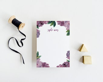 Personal Stationery Thank You Card with Purple Hand Painted Flowers