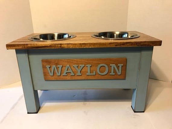 Large Rustic Wooden Dog Dish Stand Dog Feeder Personalized Dog
