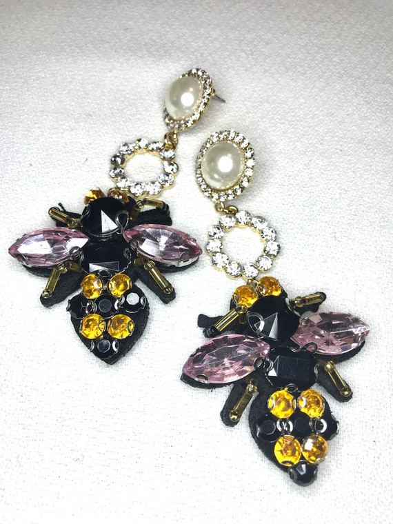 Super Cute Big Bling Bumble Bee Purple Yellow & Black light weight Felt Backed Earrings