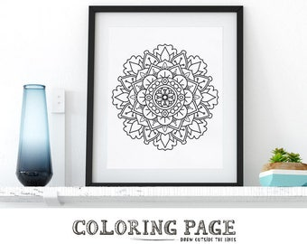 Printable Mandala Coloring Page Floral Pattern Adult Coloring Book Adult Anti Stress Art Therapy Instant Download Zen Digital Printable Art