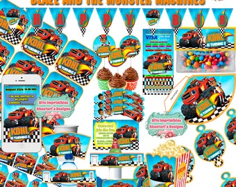 Printable and editable Kit #Blaze and the #Monster #Machines [party hat, toppers, wrappers, invitations boxes, pennants, br] #DIY