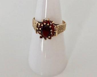 Garnet cluster ring, vintage garnet ring, 9ct gold garnet ring