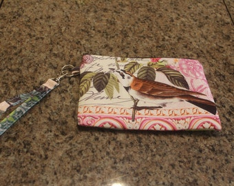 Spring bird themed wristlet/clutch