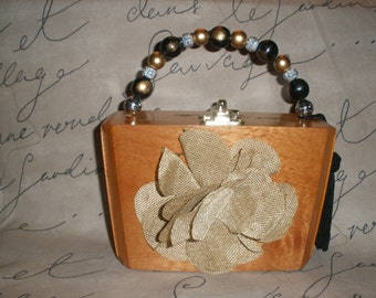Cigar Box Purse, New, Upcycled with Burlap Flower, Tampa, A. Fuente