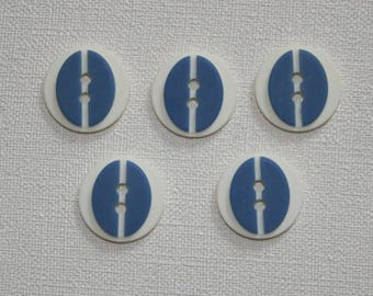 Set of 5 round vintage buttons. Blue buttons. B06
