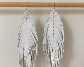 White and silver genuine LEATHER feather earrings with silver leaf tips metallic leather earrings lightweight dangle earrings