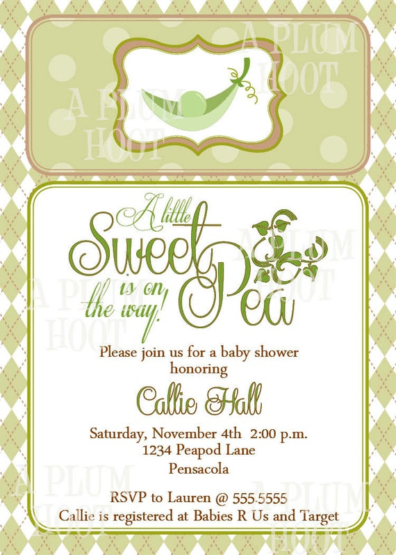 Sweet Pea in a Pod Baby Shower Invitation Personalized DIY