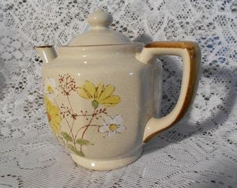 Vintage Casualstone Teapot w/Locking Lid - Made in Korea - Widlflowers Motif