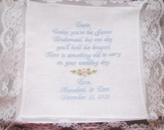 Junior Bridesmaid Personalzed Wedding Handkerchief