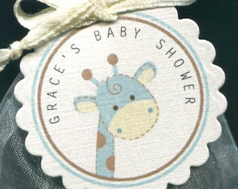 Personalized Baby Shower Favor Tags, giraffe, blue and ivory, set of 40 round scallop tags