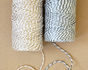 Silver or Gold Metallic Cotton Twine | Bakers Twine 100 metre roll