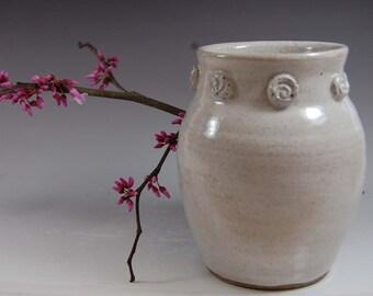 White Pottery Vase- Handmade ,flowers,home deco