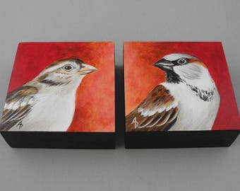 House Sparrow couple - pair of birds - male and female sparrow painting - love bird anniversary art - wedding art - bride and groom gift